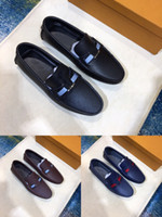Wholesale striped top dress - Luxury 2018 Louise Mens Loafers Gommino Lowtop Dress Walking Driving Shoes Slip-On Sneakers Design Tops AAAAAA Original Box Size 38-45