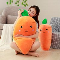 Wholesale vegetable toys - Soft Cartoon Carrot Plush Doll Realistic Vegetables Shaped Pillow Cushion Kwaii Home Decor Toys Gift Hot Sale 14dy YY