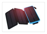 güç bankası bateria externa toptan satış-Su geçirmez Güneş Enerjisi Banka 10000 mAh Güneş Pil Şarj Bateria Externa Taşınabilir Şarj Powerbank Ile iPhone Için LED Işık Pusula