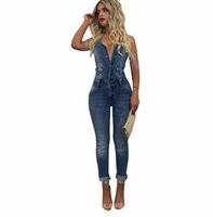 Wholesale denim overalls women rompers - 2018 Summer Fashion Casual Women Denim Jumpsuit Sleeveless Buttons Slim Long Jumpsuits Overalls Party Rompers Jeans