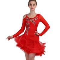 vestidos de salsa vermelha venda por atacado-New Red Vestido de Dança Latina Ruffles Strass Manga Longa Bordado Vestidos de Senhoras Flamenca Salão de baile Samba Salsa Vestido DL2740