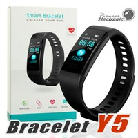 Wholesale pedometers for sale - Y5 Smart Bracelet Wristband Fitness Tracker Color Screen Heart Rate Sleep Pedometer Sport Waterproof Activity Tracker for iPhone Samsung