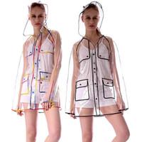 flecos chaquetas al por mayor-Nuevos Impermeables EVA Impermeable Impermeable Transparente Mujeres de moda Rainwear Chaqueta de lluvia Chaqueta Rainbow Fringe Clothes Rain Gear WX9-379