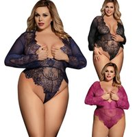 Wholesale plus size sexy teddy - Plus Size Exquisite Lace Sleeve Teddy Babydoll Sleepwear Nightwear Sheer Lace Sexy Lingerie Dress Harness Pajamas R80400 (Black,Navy,Purple,