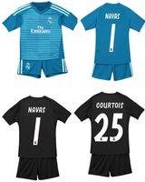 6e0176501 18 19 Real Madrid Camisetas de portero de fútbol para niños Pantalones  cortos CORTOS CASILLA NAVAS Conjuntos de fútbol Juegos de fútbol para niños  Juegos de ...