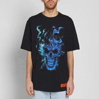 Wholesale long sleeve skeleton shirt - HERON PRESTON SKULL 18SS Gradient Before And After The Flame Printing Skeletons Fashion Couple T-Shirt Short Sleeve HFYTTS024