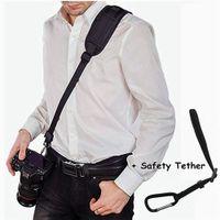 ingrosso cinghia di fissaggio rapida della macchina fotografica della spalla-Tracolla per fotocamera, tracolla DSLR per collo della fotocamera, tracolla morbida in neoprene per fotocamera con sgancio rapido e cinturino di sicurezza per Canon, Fujifilm