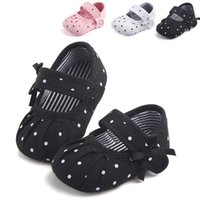 Wholesale cute sweet shoes for sale - Sweet newborn baby girl dot ruffled shoes cute newborn kids baby girls shoes soft sole anti slip shooes prewalker M