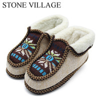 zapatillas de piedra al por mayor-STONE VILLAGE Winter Warm Plush Slippers Print Punto Home Slippers Soft Bottom Cotton Mujer Zapatos Zapatos de interior Mujer