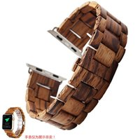 Wholesale wood wrist watches - 2018 Newly Natural Wooden Bamboo Wood Watch Band Wrist Band Strap Bracelet For Apple Smart Watch 42mm