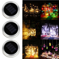 ingrosso luce fata di vetro-Barattoli solari a LED Mason Light Up Lid 10 20 LED String Fairy Star Lights Viti su coperchi d'argento per Mason Glass Jars Luci stringa natalizie