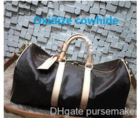 Wholesale vintage leather luggage for sale - Group buy Best quality Men Travel Bag Women Duffle Bags Luggage real oxidize leather damier vintage keepall cm Handbags with lock and key