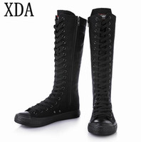 платформенные коленные сапоги оптовых-XDA 2019 Fashion Women Platform flat Knee High Boots Fashion Lace-Up zipper Spring autumn Canvas Boots White Black F700