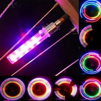 Wholesale Switch For Bike - 5 LED Flash Bike Lights Wheel Valve With Switch Bicycle Wheels Firefly Colorful LED Flash Light Lamp For Bike Motorcycle Air Nozzle Light