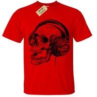 наушники с черепами оптовых-Череп наушники экран печатных мужская футболка S-5XL группа скелет музыка ретро размер discout горячая новая футболка