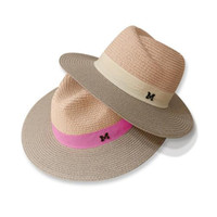 Wholesale girls white straw hat - dropshipping 2018 Hot sale summer sun hats for women M letter wide brim ladies straw hat beach vacation girls panama hat