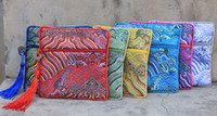 Wholesale Purses Party Favors - Luxury Wave Small Zipper Coin Pouch Jewelry Gift Bag Chinese Silk Brocade Bracelet Pouch Tassel Women Mini Purse Party favors