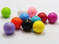 kabarcıklı boncuklar karıştır toptan satış-200 adet 6mm Karışık Bubblegum Renk Akrilik Yuvarlak Boncuk Pürüzsüz Topu DIY takı yapımı