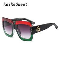 b2e6aa9857 KeiKeSweet mujeres de gran tamaño diseñador de la marca de lujo Sexy o Hot  Rayed Lady gafas de sol Top grandes gafas de sol de la celebridad Rock  colorido