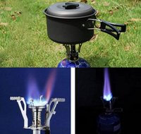 Wholesale gas electronic ignition - Free Shipping Outdoor Picnic BBQ Burner Stove Camping Gas Stoves Portable Folding Mini Burner Electronic Ignition with Box