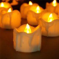 elektrische dekorationen großhandel-Tropfen reißen LED Teelicht flackern Batterie Kerzen Kunststoff elektrische Kerzen flammenlose Teelichter für Weihnachten Halloween Hochzeitsdekoration