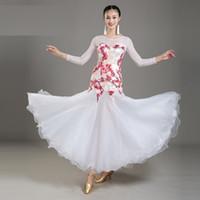 Adult Women Ballroom Dance Dress Modern Waltz Standard Competition Dance Dress Mesh Stitching Flower Printed Dress 4Color White Black Purple