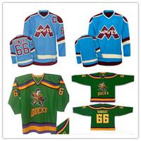 Wholesale Ice Wave - Custom XS-5XL Custom Mighty Ducks Bombay Waves 66 Gordon Bombay Hockey Jersey Stitch Sewn Any Player or Number Free Shipping