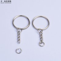 Wholesale photo parts - Wholesale Metal Split Keychain Ring Parts - 50 Key Chains 25mm Keyring With Open Jump Ring and Connector