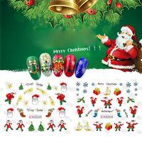 nette 3d nagelkunst großhandel-Nails Aufkleber Kunst Weihnachten 3D Nail Art Aufkleber Schneeflocken Cute Snowmen Aufkleber Adesivi Unghie Natalenail Aufkleber Cartoon 0926