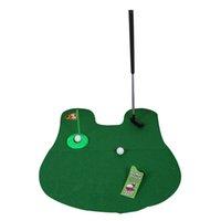 jeu de golf de toilette putter pot achat en gros de-Potty Putter Toilette Golf Jeu Mini Golf Set Toilette Putting Vert Nouveauté Jeu Pour Hommes Et Femmes