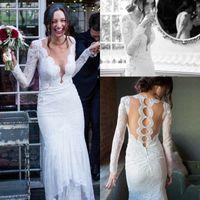 Wholesale wedding dresses unique designs - Romantic White Lace Mermaid Wedding Dresses Plunging V Neck Long Sleeves Robe de soriee with Unique Backless Design Bridal Gowns