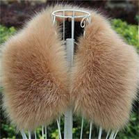 Wholesale orange coat fur collar - Aristocratic Women Scarf Artificial Fur Fake Fox Hair Winter Outdoor Warm Coat Collar Solid Color High Quality Scarves 30px hh