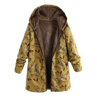 chauffe-poche vintage achat en gros de-Parka Coat Veste en coton mince coupe-vent femme veste chaude avec une capuche hiver chaud impression florale poches Vintage manteaux oversize