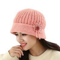 ingrosso cappello del beanie del crochet di modo delle donne-Womens Fashion Flower Knit thick wool Crochet Beanie Hat Berretto invernale caldo berretto # 1102 A # 487
