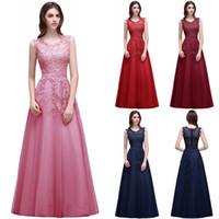 Wholesale Fashion Robes - vestido de festa longo Lace Formal Evening Dress robe de soiree 2018 Appliques Sequins Long Party Prom Gowns Cheap CPS299