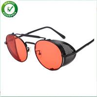 gotik yuvarlak güneş gözlüğü toptan satış-Kadınlar için lüks tasarımcı güneş gözlüğü erkek marka moda metal çerçeve yan yuvarlak vintage retro steampunk gotik hippi daire retro gözlük
