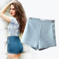 Wholesale Purple Ladies Jeans - Wholesale- 2017 High Waisted Denim Shorts For Women Candy Color Short Jeans Ladies Slim Summer Casual Trousers Jeans Female