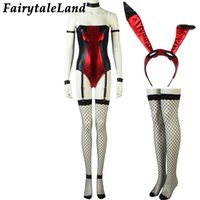 Wholesale deadpool costume adults online - Bunny Sexy Costume Halloween Party Costumes for adult Women Deadpool Style Rabbit unicorn sexy costume Spandex Jumpsuit