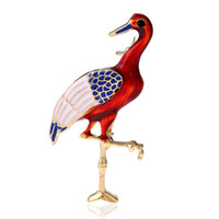 Wholesale Crane Wedding - European and American fashion ornaments high-grade temperament flamingos cloisonne pin red-crowned crane alloy brooch brooch brooch supply