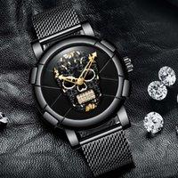 erkek siyah kol saati toptan satış-X 2018 Lüks Kafatası Erkekler İzle Siyah Altın Marka Yaratıcı Kuvars Erkek Boy Casual Bilek Saatler Spor Saat Relogio Masculino