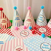 decoraciones de la fiesta de cumpleaños del príncipe al por mayor-Lindo cumpleaños señalado sombrero príncipe princesa Dot Paper Caps niños Headwear fiesta de cumpleaños vestido de decoración