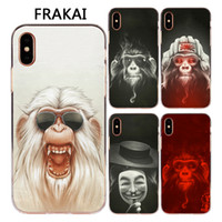Wholesale Monkey Phone Covers - For Apple Iphone X 8 7 6S Plus 5C 5S SE Case Luxury Design Glasses Smoking Monkey Painted Soft Silicone TPU Phone Cover