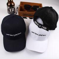 ingrosso cappelli duri neri-Summer Fashion Black Hat Cap Donna Casual Streetwear Lavoro Hard Play Hard Cap Elegante primavera Bsaic Baseball Hat femminile