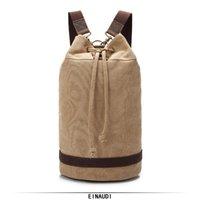 bolso de hombro caqui de los hombres al por mayor-Bucket Travel Bag Diseñador de moda Vintage Canvas Mochilas Unisex de alta calidad Bag Men and Lady Shoulders Khaki Grey Pocket