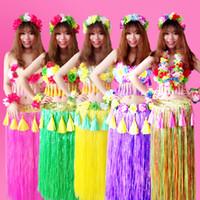 hawaïen hula herbe jupes achat en gros de-6 PCS / set Mode Fibres En Plastique Femmes Herbe Jupes Hula Jupe Hawaïen costumes 80 CM Dames Dress Up Festive Fête Fournitures