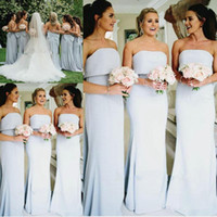 Wholesale low back bow wedding dress - spring Summer Strapless Bridesmaid Dresses Long Sheath Satin Low Back Sexy Maid Of Honor Dress Back With Bow Wedding Guest Gowns Vestidos