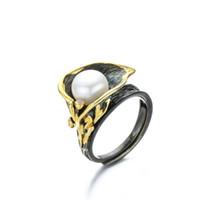 barocke ringe großhandel-RADHORSE 925 Silber Ringe für Frauen Edlen Schmuck Natürliche Perle Calla lily Barock Retro Silber Ring Einstellbar Schwarz