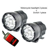 moto honda al por mayor-1 par faros LED de la motocicleta 12V 60W 10000LM U2 faros de la linterna del faro de la moto del LED luz principal de la lámpara del punto del punto DRL
