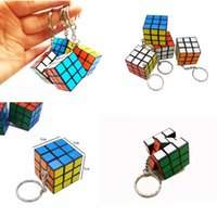 Wholesale keychain cube resale online - 3 X X CM Mini Magic Cube Puzzle KeyChain Toy Pendant Key Ring Square key ring kids toy gift FFA187