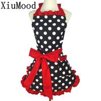Wholesale cute aprons pockets resale online - Xiumood New Cute Bib Cotton Apron Dress Flirty Vintage Kitchen Women Dots With Lace Pocket Gift